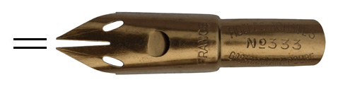 Antike Kalligraphie Doppelstrich-Feder, Gilbert & Blanzy-Poure, No. 333, Fideles Achates
