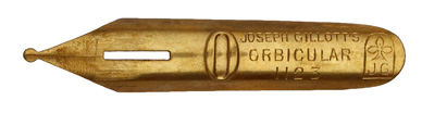 Antike Schreibfeder, Joseph Gillott & Sons Ltd., No. 1123, Orbicular Pen, Gilt