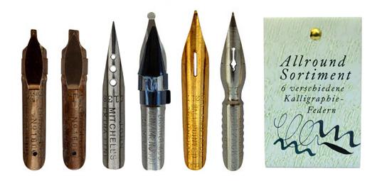 Kalligraphie-Federn, Sortiment mit 6 unterschiedlichen Federn für alle möglichen Anwendungen, in der Geschenkverpackung