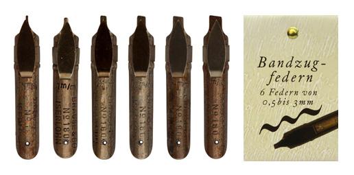 Kalligraphie-Federn, Sortiment mit 6 Bandzugfedern für Rundschrift, in der Geschenkverpackung