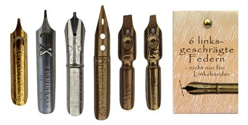 Kalligraphie-Federn, Sortiment mit 6 linksgeschrägten Federn, in der Geschenkverpackung