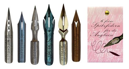 Kalligraphie-Federn, Sortiment mit 6 Spitzfedern für die Englische Schreibschrift Anglaise, in der Geschenkverpackung