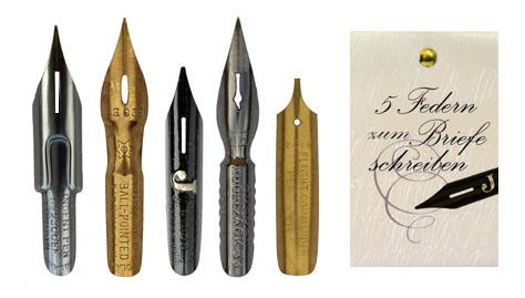 Kalligraphie-Federn, Sortiment mit 5 verschiedenen Federn zum normalen Schreiben, in der Geschenkverpackung