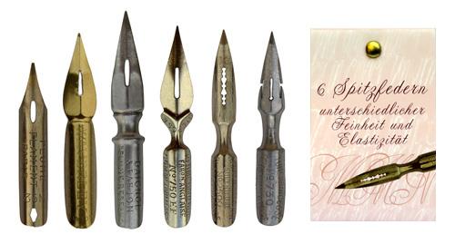 Kalligraphie Spitzfedern, Sortiment mit 6 Federn in Geschenkverpackung