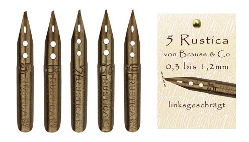 Kalligraphie-Federn, Sortiment mit 5 Rustica-Federn von Brause & Co, linksgeschrägt