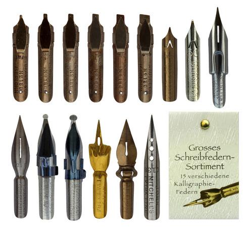 Kalligraphie-Federn, Sortiment mit 15 Federn unterschiedlicher Art, in der Geschenkverpackung