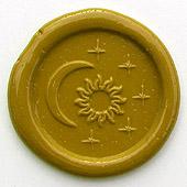 Siegelstempel-Platte, Sonne, Mond und Sterne