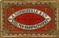 Antike Schachtel mit Zeichenfedern, A. Sommerville & Co / Sir Josiah Mason, No. 2350