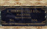Antike Federschachtel, A. Sommerville & Co, No. 504 F, Josiah Mason