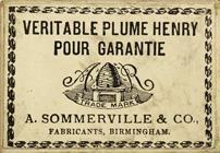 Antike Schreibfederschachtel, A. Sommerville & Co, Henry F, Sceleton Pen, Rückseite