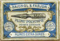 Antike Schreibfederschachtel Baignol No. 1600 plume polycopie