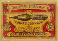 Antike Schreibfederschachtel, Baignol & Farjon, No. 1128 EF, Pointe Convexe