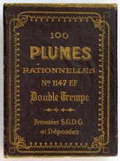 Antike Schreibfederschachtel, Baignol & Farjon, No. 1147 EF, Plume Rationelle, Ellenbogenfeder