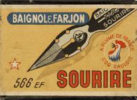 Antike Schreibfeder-Schachtel, Baignol & Farjon, No. 566 EF, Sourire