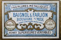 Antike Schachtel mit Kalligraphie Spitzfedern, Baignol & Farjon, No. 730 EF, Henry Superieures Veritables