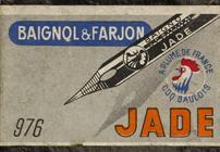 Antike Schachtel mit Zeichenfedern, Baignol & Farjon, No. 976, Jade