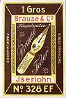 Antike Schreibfederschachtel, Brause & Co, No. 328 EF, Pfannenfeder