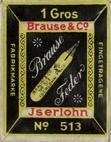 Antike Schachtel mit Zeichenfedern, Brause & Co, No. 513