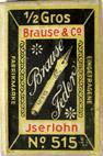Antike Schreibfeder-Schachtel, Brause und Co, No. 515, Röhrchenfeder