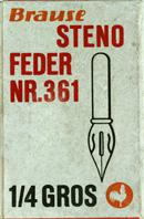 Antiek Schreibfederschachtel, Brause & Co, Stenofeder 361, 1/4 Gros