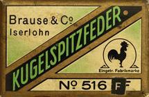 Antike Schreibfederschachtel, Brause & Co, No. 516 F, Kugelspitzfeder
