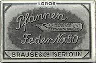 Schachtel mit Brause No. 50, silber, Kalligraphie Pfannenfedern