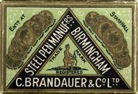 Antike Schreibfeder-Schachtel, C. Brandauer & Co, No. 251 M, Gilt
