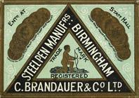 Antike Schreibfederschachtel, C. Brandauer & Co, No. 1, Biscribe