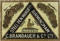 Antike Schreibfederschachtel, C. Brandauer & Co, No. 128 F