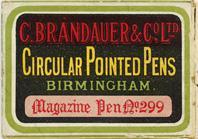 Antike Schreibfederschachtel, C. Brandauer & Co Ltd, No. 299, Magazine Pen