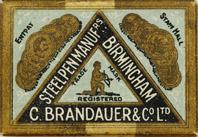 Antike Schachtel mit Zeichenfedern, C. Brandauer & Co, No. 518