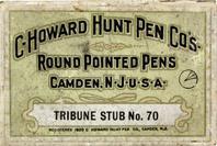 Antike Schreibfederschachtel, C. Howard Hunt Pen Co, No. 70, Tribune Stub, Round Pointed