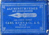 Antike Schreibfederschachtel, Carl Kuhn & Co A.G., No. 510 EF A (Aluminium)