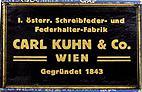 Antike Schreibfederschachtel, Carl Kuhn & Co, No. 570, Messing-Feder