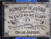 Antike Schreibfederschachtel, No. 33 EF, Charles de Jaeger, Calligraphe de S. M. le Roi des Belges