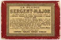 Antike Schreibfederschachtel, Rückseite, Compagnie Francaise, No. 814, Plume Bacchus