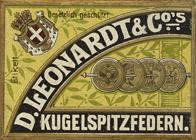 Antike Schreibfederschachtel, D. Leonardt & Co, No. 510 M, Kugelspitzfeder, Heureka