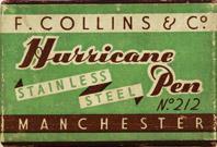 Antike Schreibfederschachtel, F. Collins & Co, No. 212, Hurricane Pen
