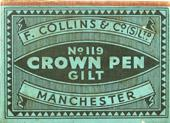 Antike Schreibfedern-Schachtel, F. Collins & Co Ltd., No. 119, Crown Pen, Gilt