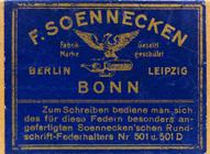 Antike Schreibfederschachtel, F. Soennecken, No. 30, Rundschrift-Doppel-Feder, Bonn