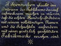 Antike Schreibfeder-Schachtel, F. Soennecken, Breitfeder, Rückseite der Schachtel