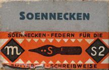 Antike Schreibfederschachtel, F. Soennecken, No. S 2, Sütterlin-Schreibweise