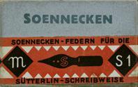 Antike Schreibfederschachtel, F. Soennecken, Sütterlin-Feder S 1