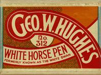 Schachtel mit Kalligraphie Spitzfedern, Geo. W. Hughes, No. 312, White Horse Pen