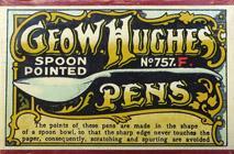 Antike Schreibfederschachtel, George W. Hughes, No. 757 F, Spoon Pointed Pen, Electro Gold
