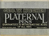 Antike Schreibfederschachtel, Geo. W. Hughes, No. 1335 EF. H.P., Platernal Pen
