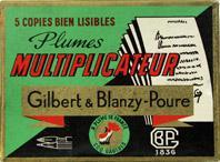 Antike Schreibfederschachtel, Gilbert & Blanzy-Poure, No. 344, Multiplicateur
