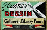 Antike Schreibfeder-Schachtel, Gilbert & Blanzy-Poure, No. 423, Plume Atome