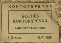 Antike Schreibfederschachtel, Göthes Kontorspenna EF, Gilt