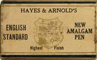 Antike Schreibfeder-Schachtel, Hayes & Arnolds, New Amalgam Pen